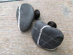 NATURAL STONE Cabinet Knobs Lake Beach Stone by lakehousetreasury, $30.00
