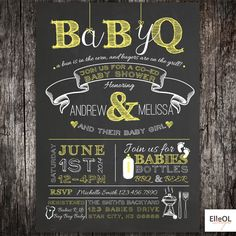 chalkboard couples coed Baby Shower BBQ invitation  by ElleOL, $17.00