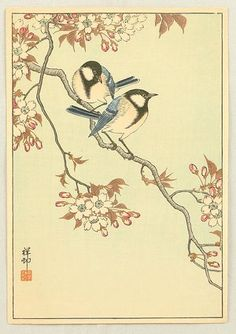 Ohara Koson: Two Birds and Cherry Tree - Artelino
