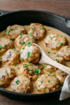 These chicken meatballs are delicious over egg noodles or creamy mashed potatoes. An easy chicken dinner idea for a busy weeknight (30 minute meal!)