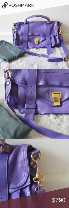 Own-proenza schouler ps1 medium purple Every celebrity and fashion bloggers owned bag. Chic, timeless, versatile, functional,lightweight... everything you would want with a bag. Please see photos for discoloration. Because the leather is a super beautiful saturated purple color, discoloration happened at some spots. Personally they don't bother me at all because it's the beauty of the leather aging. Proenza Schouler Bags