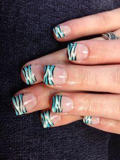Desa's nails. Zebra striped gel nail art.