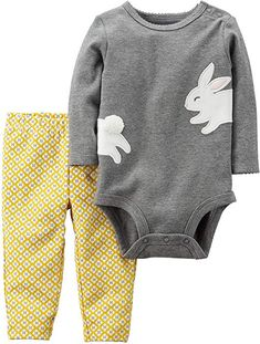 Amazon.com: Carter's Baby Girls' 2 Piece Bunny Bodysuit And Pants Set 12 Months: Clothing