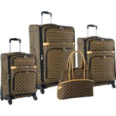 Adrienne Vittadini Black & Bronze Park Avenue 4-Piece Luggage Set ...