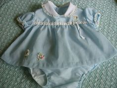Vintage crepe baby dress and panty, 1960's - 1970's.