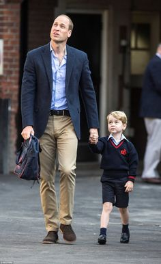 On September 7, 2017, Prince George of Cambridge arrives for his first day of school with his father Prince William, Duke of Cambridge at Thomas's Battersea in London, England. Prince George and Prince William were met by the Head of Lower School at Thomas's Battersea before heading inside to his classroom.