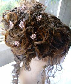 wireandice rosaline flower hair pin wedding swarovski pearls bridal hair accessories. $44.97, via Etsy.
