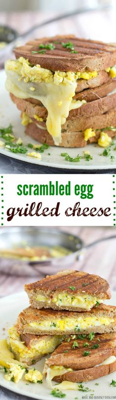 This breakfast-style grilled cheese is loaded to the max with scrambled eggs and lots of gooey mozzarella.---The ultimate grab 'n' go breakfast! @WholeHeavenly
