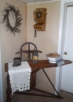 Antique Ironing Board & Sleigh Love This! Vintage Wood, Vintage Decor, Rustic Decor, Farmhouse Decor, Primitive Decor, Farmhouse Style, Farmhouse Ideas, Antique Ironing Boards, Wood Ironing Boards