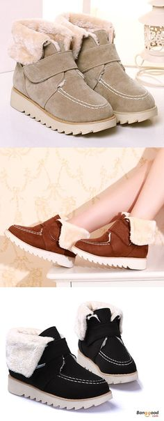 US$43.99 + Free shipping. Size: 5-12. Color: Black, Beige, Yellow. Fall in love with casual and elegant style! Winter Women Suede Flats Cotton Boots Fur Lining Casual Snow Boots.