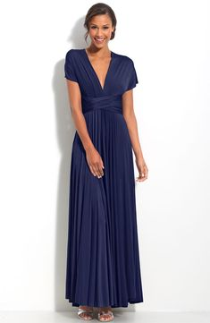 Cheap Navy Blue Column Deep V-Neck and Short Sleeve Sash Ankle Length Mother of Bride Dresses With Draped online sale,fast shipping