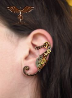Steampunk seahorse ear cuff no piercing by RockTime on Etsy