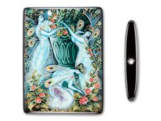 30x40mm Three Nightime Fairies on Black Onyx Rectangle Bead--The beauty of this bead can only be truly appreciated in real life! The three nighttime fairies on black onyx rectangle bead is hand-painted by skilled Russian artists who capture the emotion and beauty in every line. Three mythical blue fairies are illustrated gathering flowers in a garden, each smiling as they flutter about in the moonlight.   <3 love this!