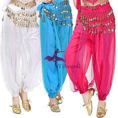 TMS MPURPLE Slit Harem Yoga Pants Tops Belly Dance Costume Tribal Pantalons Haut