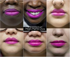 A Positive Beauty: Milani Moisture Matte Diva Swatch on different skin tones.  A full review of Milani's 2015 Moisture Matte Lipsticks only on apositivebeauty.com!  Left to right: Glam, Confident, Passion, Orchid, Diva, Naked, Innocent #lipsticks #Milani #beautyreviews #makeup