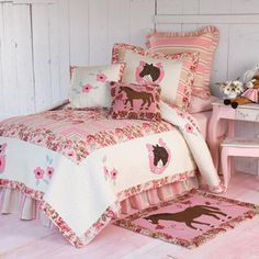 Girl's Horse Theme Bedding ~ Vintage and Blooms... two of our granddaughters have this in their room on twin beds...very cute