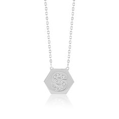 Made Simply Boutique's Hexagon Necklace in White Gold, Letter S