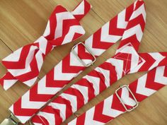 Boy Christmas Outfit, Baby Bow Tie and Suspenders, Red Chevron, Baby Boy Christmas Clothing on Etsy, $36.00