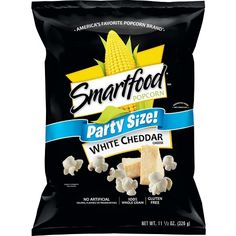Smartfood Popcorn, Party Size White Cheddar, oz (Packaging May Vary) - Food White Cheddar Popcorn, Cheese Popcorn, Popcorn Snacks, White Cheddar Cheese, Flavored Popcorn, Smartfood Popcorn, Cheese Cultures, Sandwich Cookies, Sweets