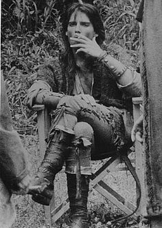 Robin Of Sherwood // Michael Praed taking a break from filming.