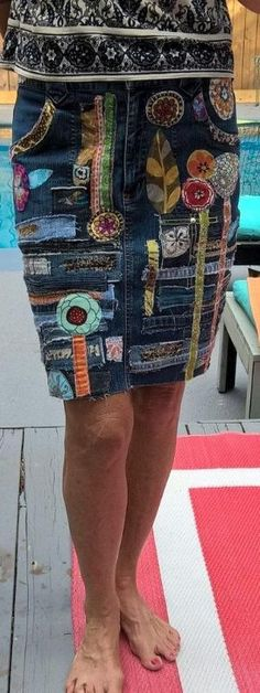a denim hippie jean skirt recycled patchwork applique' embellished medium by kari