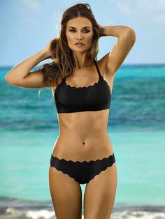 PilyQ Bralette Bikini: Black Gold bikini  | Swimwear World #PilyQSwimwear #SwimwearWorldStyle