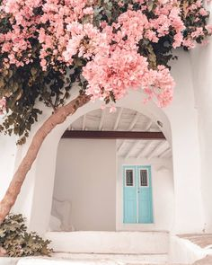 Paros, Greece by Polina Paraskevopoulou Beautiful Gardens, Beautiful Flowers, Beautiful Places, Flower Aesthetic, Pink Aesthetic, Fond Design, Look 80s, Photo Wall Collage, Bougainvillea