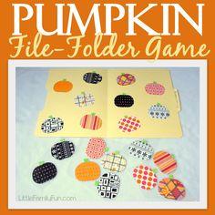 Little Family Fun: Pumpkin-Matching file folder game