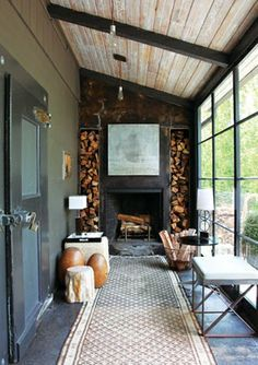 """Similar to what Southerners call a """"Lean To"""" style of Porch. Similar to what Southerners call a """"Lean To"""" style of Porch. Extension Veranda, Rustic Fireplaces, Exposed Wood, House Extensions, Cozy Living Rooms, Living Spaces, Design Case, Sweet Home, New Homes"""