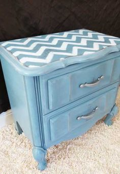 With this nightstand, I sanded, primed with Rustoleum primer and then I did a coat of espresso spray paint. I didnt love the espresso color, but I intended to sand through the top coat enough to show it through a little. Then, I did another coat of click on the