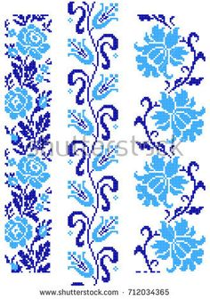 Embroidered old handmade cross-stitch ethnic Ukrainian pattern. Seamless flower ornament in vector Cross Stitch Bookmarks, Cross Stitch Borders, Cross Stitch Rose, Cross Stitch Flowers, Cross Stitching, Cross Stitch Embroidery, Beaded Embroidery, Fair Isle Knitting Patterns, Crochet Stitches Patterns