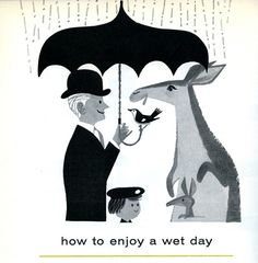 how to enjoy a wet day    illustration from the London Zoo Guide 1958