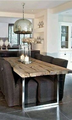 Get the modern farmhouse dining room decor ideas from the table, lighting, chairs, and more. Make the moment memorable meal with your family and remembered. Deco Design, Design Design, Design Elements, Dining Room Table, Kitchen Tables, Dining Set, Dining Chairs, Patio Table, Fine Dining