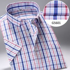 f50717621a2 Quality clothing · New Summer Style Men Short Sleeve Shirts Plaid Fashion  Turn-down Collar Slim Fit Breathable