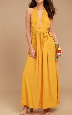 dcffbb25ca298a Magical Movement Mustard Yellow Wrap Maxi Dress