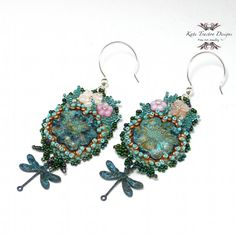 Verdigris Garden Bead Embroidery Earrings by Kate Tracton Designs, $95.00 Please use coupon code PIN10 to enjoy a 10% discount in my etsy shop!  Patina done by the artist.