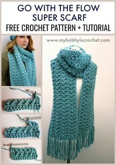 "[sc [sc The ""Go with the Flow"" Super Scarf has a nice drape and a wonderful texture made with a combination of front and back crossed double crochet stitches. Worked lengthwise with a chunky yarn, this scarf will… Continue Reading → Mode Crochet, Knit Or Crochet, Crochet Scarves, Double Crochet, Crochet Clothes, Crochet Stitches, How To Crochet A Scarf, Crochet Patterns For Scarves, Chunky Crochet Scarf"
