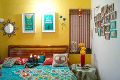 Design Decor & Disha: Home Tour: Indian Home, Home Indian Bedroom Decor, Indian Home Decor, Indian Wall Decor, Indian Room, Indian Home Interior, Turquoise Teen Bedroom, Bedroom Yellow, Teen Bedroom Designs, Bedroom Ideas