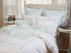 Parisienne - Luxury Bedding - Italian Bed Linens - When the flowing style of art nouveau meets the artistry and finesse of hand embroidery, the breathtaking result is this gorgeous shadow-stitched floral. Luxury Bed Sheets, Luxury Bedding Sets, Queen Bedding Sets, Duvet Sets, Bed Sets, Awesome Bedrooms, Beautiful Bedrooms, Bed Linen Inspiration, Restoration Hardware Bedding