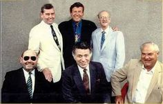 For fans of WABC (Musicradio 77, NYC) in the 1960s and 1970s, a photo like this one from 1984 is precious! Do click through to the tribute site; you won't be disappointed. (left to right: Ron Lundy, Harry Harrison, Bruce Morrow, Dan Ingram, Charlie Greer, Herb Oscar Anderson)