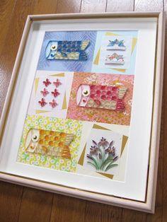 お孫さんの初節句のお祝いに・・・と、オーダーを頂き、 クイリングで、鯉のぼりを作りました♪    B4サイズなんですが、額装して頂いて、とても豪華な作品になりました♪額装前のパーツです↓              気に入って頂けるかな~? 【☆ぷるるのおう Quilling Art, Origami, Card Making, Stationery Shop, Quilling, Card Crafts, Origami Art, Quilts, Letter Crafts