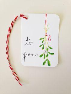 Christmas Gift Tags // Mistletoe Gift Tags // Holiday Gift Tags Watercolor Christmas Cards, Diy Christmas Cards, Christmas Gift Wrapping, Xmas Cards, Handmade Christmas, Christmas Crafts, Christmas Holidays, Holiday Gift Tags, Holiday Gifts