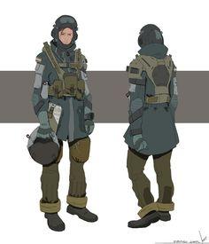 Mech Pilot Character Design by Fernando Gomes on ArtStation. Character Concept, Character Art, Concept Art, Character Design, Combat Armor, Armor Clothing, Manga Clothes, Sci Fi Armor, Rpg