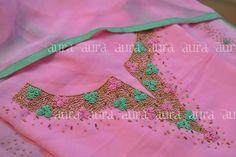 For details Ping me 9895473878 Flower Embroidery Designs, Embroidery Kits, Beaded Embroidery, Churidar Designs, Kurta Neck Design, Kurti Patterns, Indian Designer Wear, Indian Fashion, Indian Style