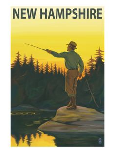 Vintage Travel Poster USA - New Hampshire - Fishing