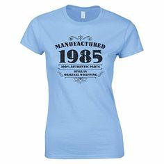ca3efc15be25c3 Women's 30th Birthday T Shirt Manufactured 1987 T Shirts 30th Birthday  Gifts Light Blue M: Amazon.co.uk: Clothing
