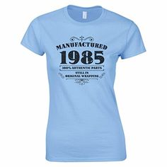 Women's Manufactured 1985 100% Authentic Parts Vintage Retro 30th Birthday Gifts T Shirt Light Blue M BANG TIDY CLOTHING http://www.amazon.co.uk/dp/B00ZP7W52Y/ref=cm_sw_r_pi_dp_2qzGvb11MCKDM