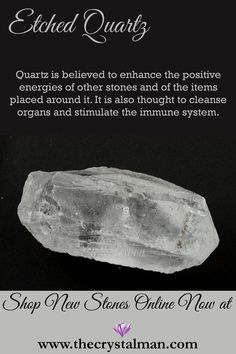 Etched Quartz ~ Positive Energy-Organ Cleaning-Immunity Shop stunning new stones online now at The Crystal Man!
