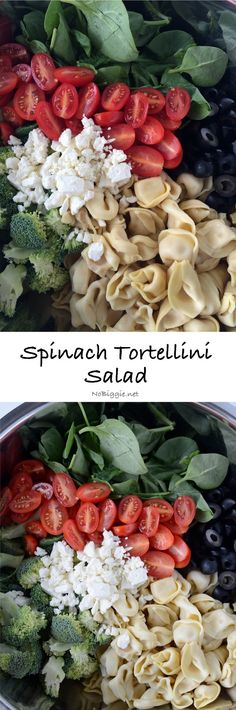 Spinach Tortellini salad will be a hit at your next barbecue! Only seven ingredients make this salad super easy. Salad Bar, Side Salad, Soup And Salad, Pasta Recipes, Salad Recipes, Dinner Recipes, Cooking Recipes, Healthy Salads, Healthy Eating