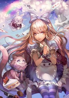 ✮ ANIME ART ✮ Alice in Wonderland. . .Alice. . .dress. . .apron. . .ruffles. . .striped socks. . .head bow. . .long hair. . .Cheshire Cat. . .cake. . .flying. . .clouds. . .rainbow. . .playing cards. . .White Rabbit. . .chibi. . .realism. . .fantasy. . .cute. . .kawaii